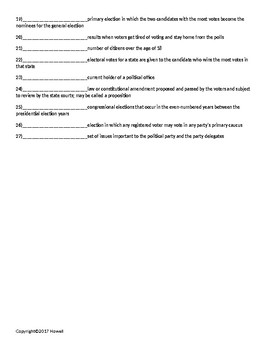 Voting and Elections Quiz or Worksheet for American Government