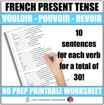 Vouloir Pouvoir Devoir French Grammar Worksheet Present Tense
