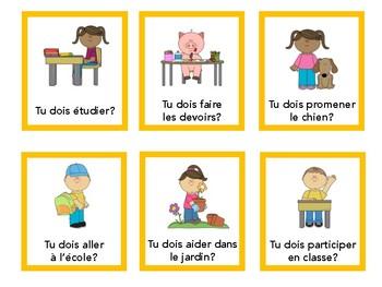 Vouloir, pouvoir, devoir, aimer, quiz quiz trade, speaking in French