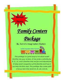 Vowel (A,E,I,O,U) Families Center Package