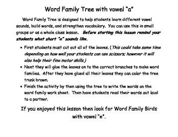 Vowel A Word Family Tree Activity