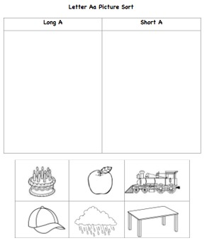 Vowel Aa and Ii Picture Sort