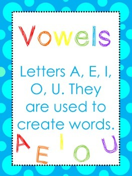 Vowel Anchor Charts. Kindergarten, 1st Grade-5th Grade, Homeschool.
