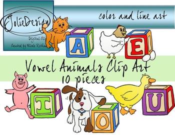 Vowel Animals - Color and Line Art 10 pc set
