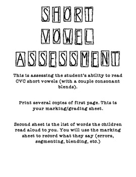 Vowel Assessment Pack
