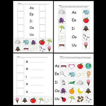 Vowel Blends And Initial Sound Recognition Worksheets By