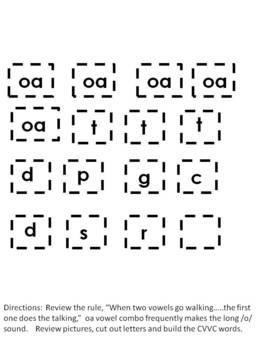Vowel Buddies - OA Vowel Diagraph - CVVC Word Building
