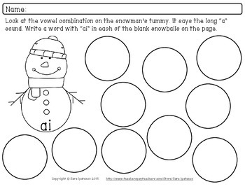 Vowel Combination Phonics Practice Packet: Snowman and Snowball Theme