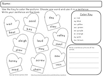 Color By Vowel Combination Phonics Practice Packet: Winter Theme