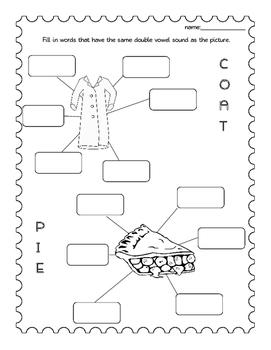 Vowel Combo Worksheets- EE, OO, EA, AI, OA IE