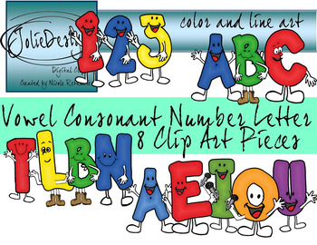 Vowel Consonant Letter Number Clipart Set - Color and Line Art 8 pc set