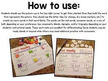 Vowel-Consonant Word Family Word Work Mats