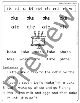 Vowel-Consonant-e (cvce) Lessons, Practice and Stories
