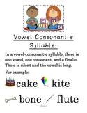 Vowel Consonant e anchor chart *FREEBIE
