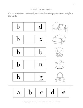 NO PREP Vowel Cut-and-Paste Workbook