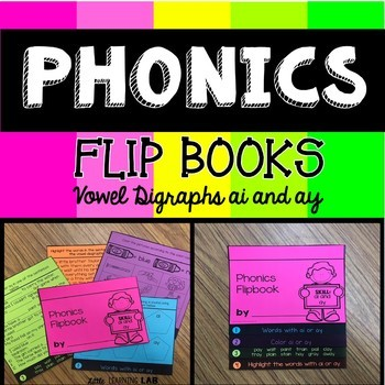 Vowel Digraphs ai and ay | Phonics Flip book