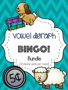 Vowel Digraph Bingo Bundle! [10 playing cards per sound]