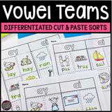 Vowel Teams and Diphthongs Worksheets Cut and Paste Word Sorts