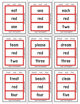 Vowel Digraph EA (Long E) ~ Match It! Word Game ~ Similar to  UNO™