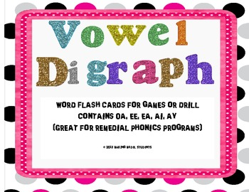 Vowel Digraph Flashcards for Drill or Games