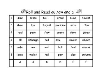 Vowel Digraph Roll and Read Games