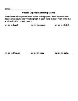 Vowel Digraph Sorting Game
