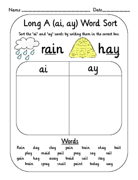 Vowel Digraph Teams Word Sort Set (oi, oy, ai, ay, ou, ow, etc) | TpT