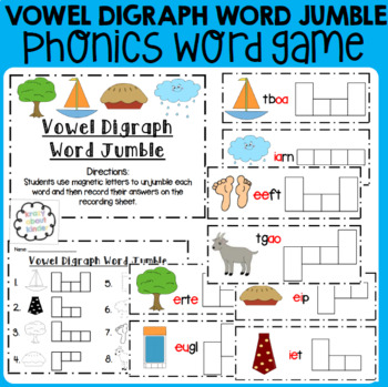 Vowel Digraph Word Jumble : Word Work : Literacy Center