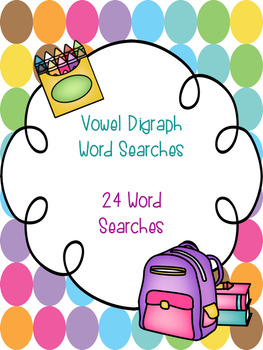 Vowel Digraph Word Search Bundle! {24 word searches}