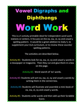 Vowel Digraph and Diphthong Word Work Bundle 29 pgs