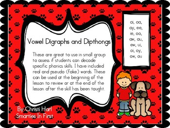 Vowel Digraph and Dipthong real and pseudo word cards