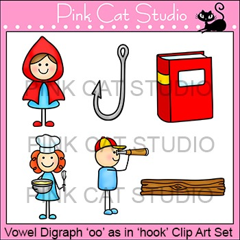 """Vowel Digraph """"oo"""" as in """"hook"""" Phonics Clip Art Set - Commercial Use Okay"""