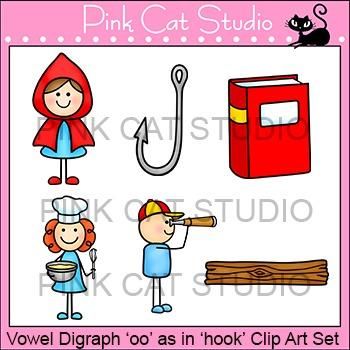 "Vowel Digraph ""oo"" as in ""hook"" Phonics Clip Art Set - Com"