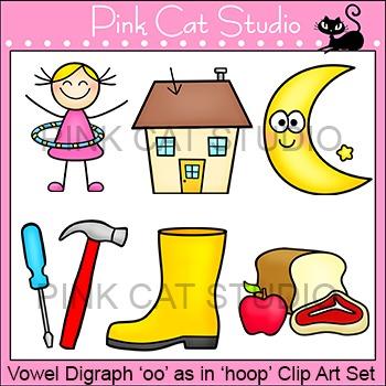 "Vowel Digraph ""oo"" as in ""hoop"" Phonics Clip Art Set - Commercial Use Okay"