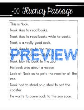 Vowel Digraph -oo fluency passage and sort