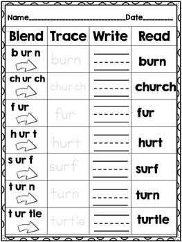 Vowel Digraph -ur -Word Work! No Prep!