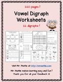 Vowel Digraphs 210 worksheets 21 digraphs