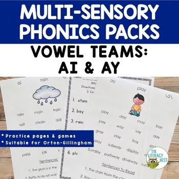 Vowel Digraphs AI AY Orton-Gillingham Multisensory Phonics Activities