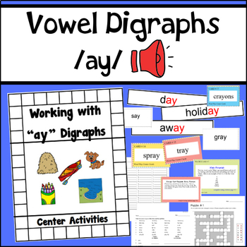 "Vowel Digraphs Activity Unit for ""ay"" words"