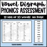 Vowel Digraphs Assessment ee, oa, ai, ea, ay, ue, ea