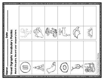 Vowel Digraphs Vocabulary Puzzles: aw and au Set
