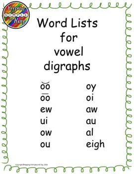 Vowel Digraphs Word Lists