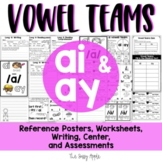 Vowel teams ai and ay: worksheets, reading passage, writing, assessments & more!