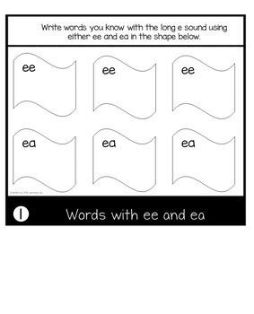 Vowel Digraphs ee and ea | Long Vowels | Phonics Flip Book