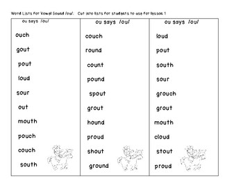 Vowel Digraphs oi, ou, aw  Lesson Plans and Practice Worksheets / Activities