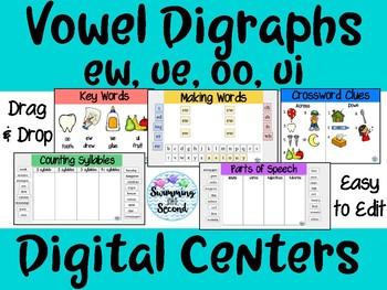 Vowel Digraphs (oo, ew, ui, ue) Digital Centers