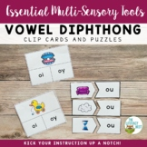 Diphthongs Clip Cards and Puzzles Orton-Gillingham Multise
