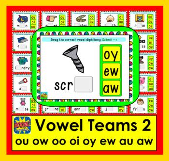 Vowel Diphthongs BUNDLE:  Decks 1, 2, 3, and 2&3 Merged: oo oi oy ou ow ew aw au