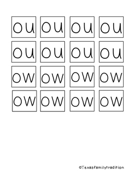 Vowel Diphthongs OU/OW Task Cards