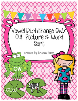 Vowel Diphthongs OW/OU Picture & Word Sort